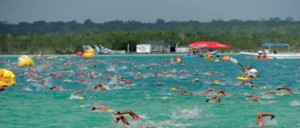 Swimming in a race at Bacalar Quintana Roo Yucatan