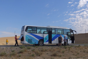 Our bus going through the desert